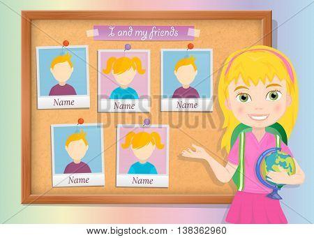 Yearbook about schoolgirl and cork board vector