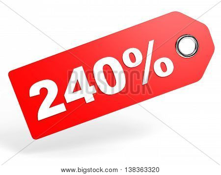 240 Percent Red Discount Tag On White Background.