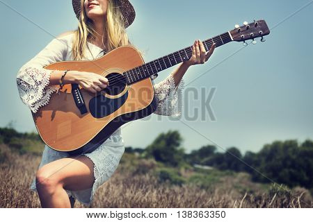Girl Guitar Hill Vacation Music Song Happiness Concept