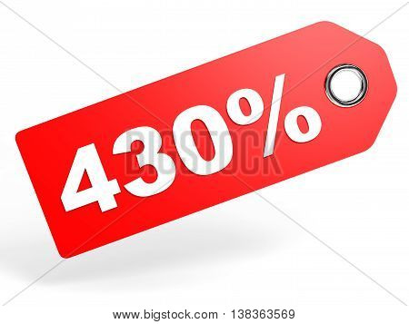 430 Percent Red Discount Tag On White Background.