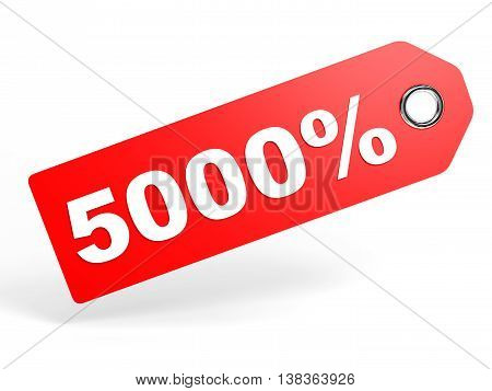 5000 Percent Red Discount Tag On White Background.
