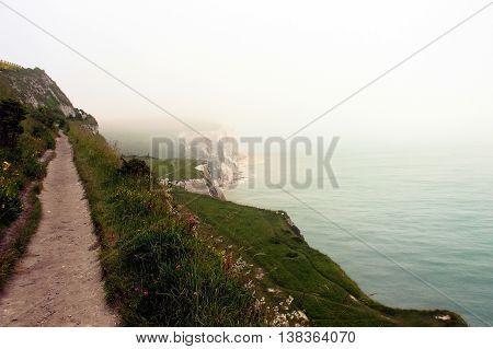 White chalk cliffs on the North Sea coast near Dover, England