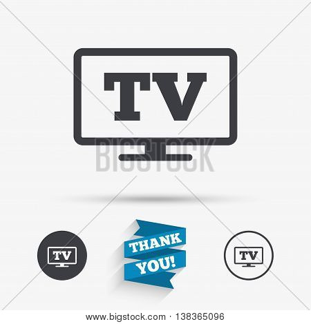 Widescreen TV sign icon. Television set symbol. Flat icons. Buttons with icons. Thank you ribbon. Vector