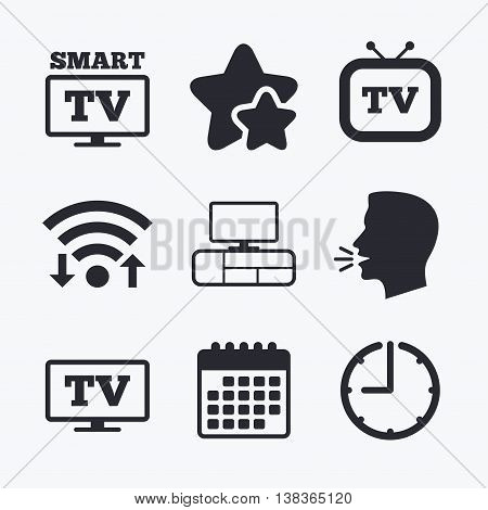 Smart TV mode icon. Widescreen symbol. Retro television and TV table signs. Wifi internet, favorite stars, calendar and clock. Talking head. Vector