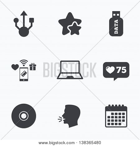 Usb flash drive icons. Notebook or Laptop pc symbols. CD or DVD sign. Compact disc. Flat talking head, calendar icons. Stars, like counter icons. Vector