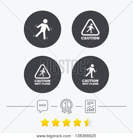 Caution wet floor icons. Human falling triangle symbol. Slippery surface sign. Chat, award medal and report linear icons. Star vote ranking. Vector