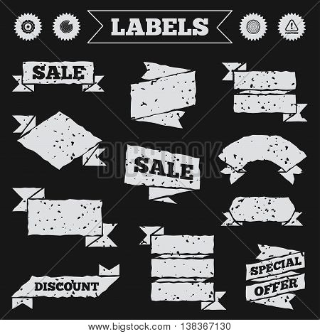 Stickers, tags and banners with grunge. Wood and saw circular wheel icons. Attention caution symbol. Sawmill or woodworking factory signs. Sale or discount labels. Vector