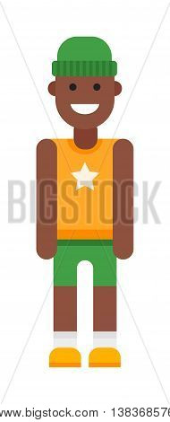 Portrait of school aged afro american boy child isolated on white. Diversity people one male youth kid afro american boy vector character. Afro american ethnicity boy adult childhood shirt.