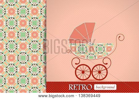 Baby shower announcement, invitation, birthday retro card with baby carriage, pattern swatch included in file, vector illustration background.