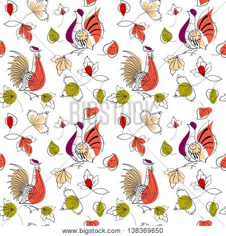 Vector seamless pattern. Birds in Russian style