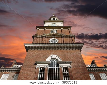 Independence Hall with sunrise sky in Philadelphia.