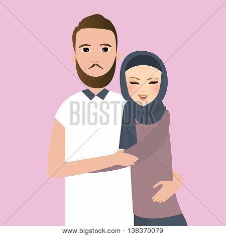 Islam couple married man woman wear veil scarf vector