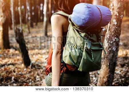 Camping Woman Backpakcer Leisure Holiday Concept
