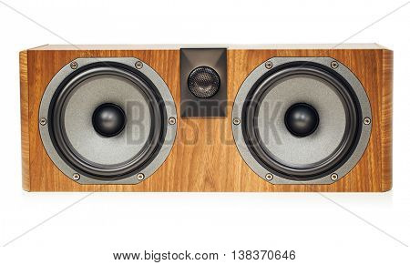 central channel speaker, home theater audio component, isolated on white