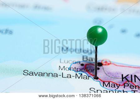Savanna-La-Mar pinned on a map of Jamaica