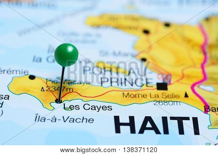 Les Cayes pinned on a map of Haiti