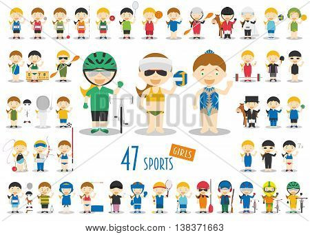 Big Set of 47 cute cartoon sport characters for kids. Funny cartoon girls. Olympics Sports vector illustrations