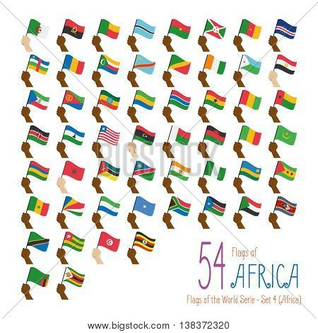 Set of 54 flags of Africa. Hand raising the national flags of 54 countries of Africa. Icon set Vector Illustration.