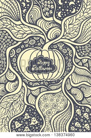 Pumpkin frame with  Zentangle  pattern black on white