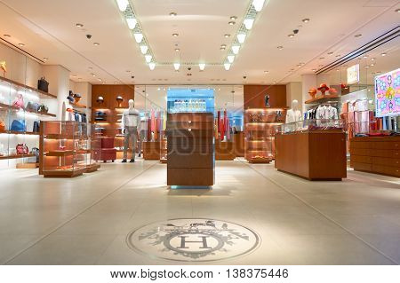 NEW YORK - APRIL 06, 2016: Hermes store in JFK Airport. Hermes International S.A., Hermes of Paris, or simply Hermes is a French high fashion luxury goods manufacturer established in 1837