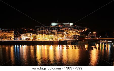 Night view of the city of Coimbra, Portugal.