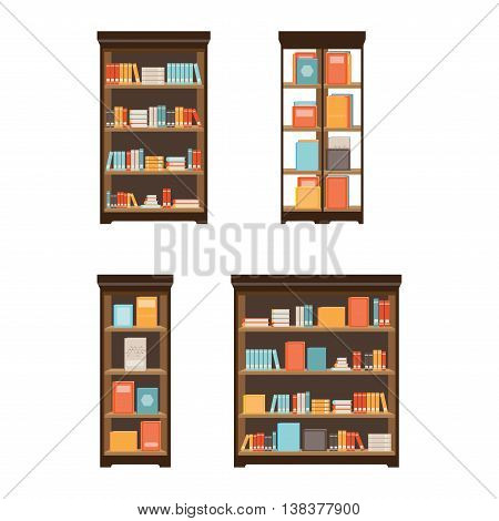 Home library with books on shelves isolated on white background flat icon vector illustration.