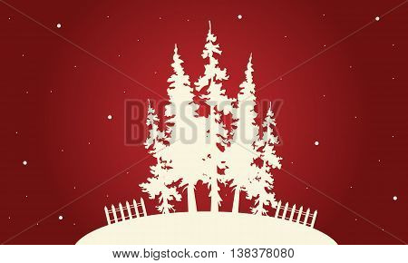 Silhouette of Christmas spruce on red backgrounds