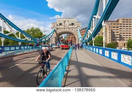 Traffic On The Tower Bridge In London, Uk