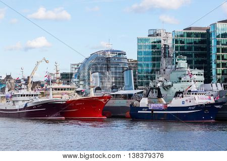 Cityscape Of London With Thames, Hms Belfast And City Hall