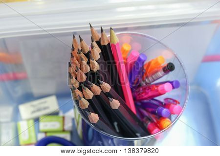 Black pencil  Wooden, in box collection. Top view