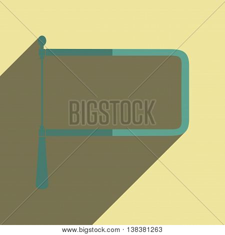 Flat icons with shadow of coping saw. Vector illustration