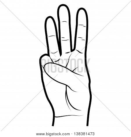 Hand simbolizing a gesture, isolated flat icon vector illustration.