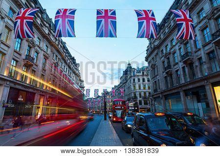 Regent Street In London, Uk, At Night