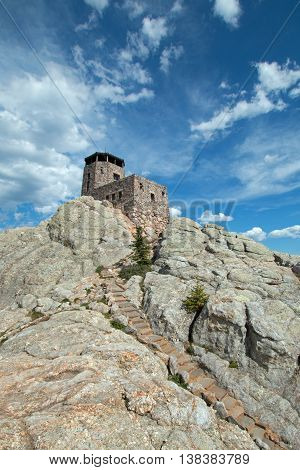 Harney Peak Fire Lookout Tower and stone masonry steps in Custer State Park in the Black Hills of South Dakota USA