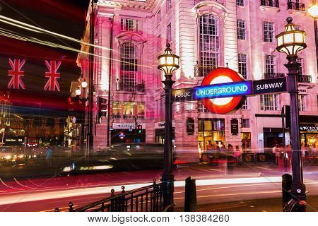 Piccadilly Circus In London, Uk, At Night