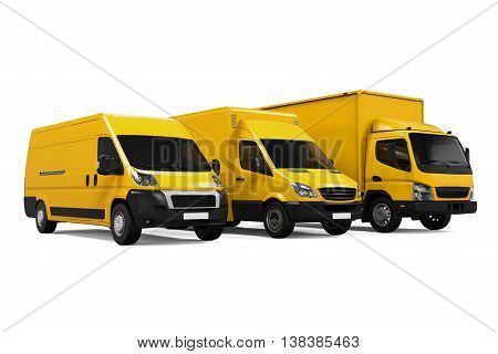 Yellow Delivery Vans isolated on white background. 3D render