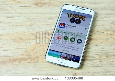 KOTA KINABALU MALAYSIA - 14 JULY 2016: Pokemon Go in Google Play showing it's not available your its a augmented reality mobile game developed by Niantic for iOS and Android devices.