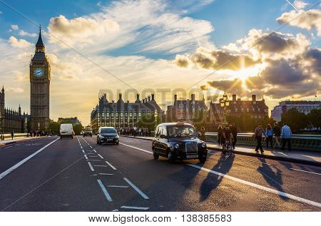 Traffic On Westminster Bridge In London, Uk