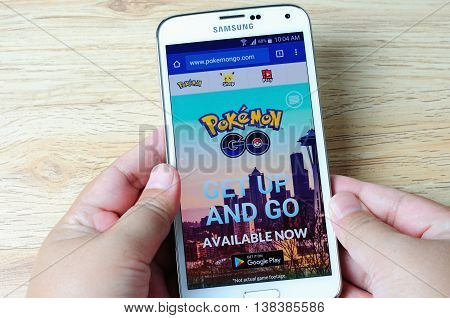 KOTA KINABALU MALAYSIA - 14 JULY 2016: Pokemon Go website front page screen a free-to-play augmented reality mobile game developed by Niantic for iOS and Android devices.