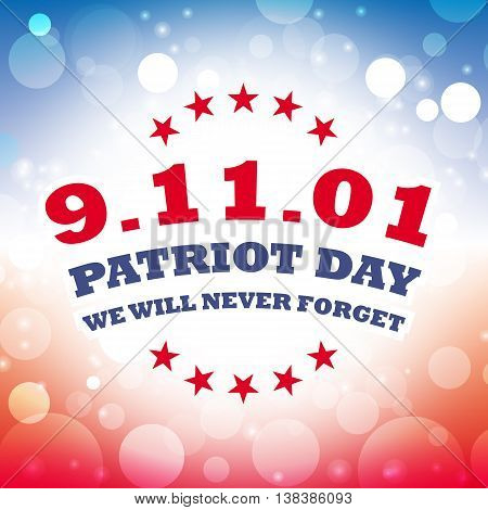 America Patriot Day - september 11 2001 banner in abstract colors of the American flag, vector illustration
