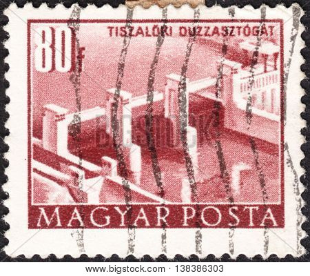 MOSCOW RUSSIA - JANUARY 2016: a post stamp printed in HUNGARY shows the Tiszalok dam the series