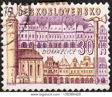 MOSCOW RUSSIA - JANUARY 2016: a post stamp printed in CZECHOSLOVAKIA shows Domazlice town the series