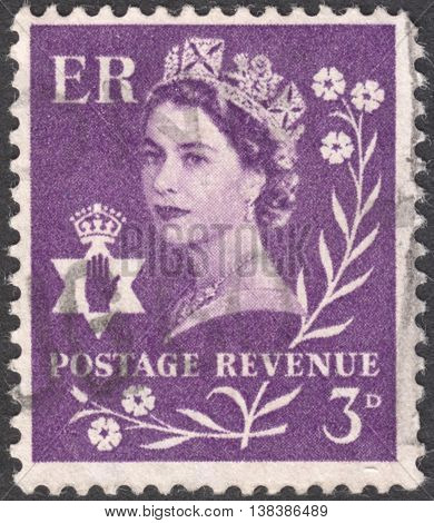 MOSCOW RUSSIA - JANUARY 2016: a post stamp printed in the UNITED KINDOM shows a Portrait of Queen Elizabeth II circa 1958