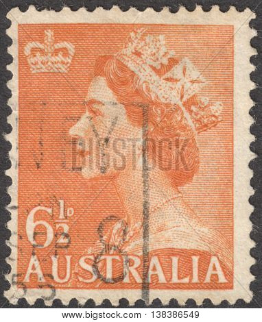 MOSCOW RUSSIA - CIRCA JANUARY 2016: a post stamp printed in AUSTRALIA shows a portrait of Queen Elizabeth II the series