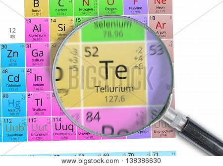 Tellurium - Element Of Mendeleev Periodic Table Magnified With M