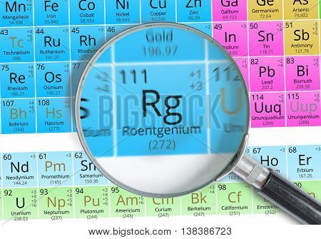 Roentgenium - Element Of Mendeleev Periodic Table Magnified With