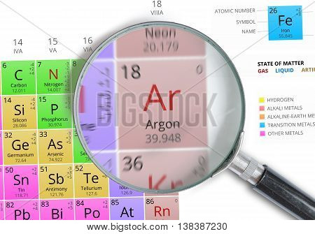 Argon - Element Of Mendeleev Periodic Table Magnified With Magni