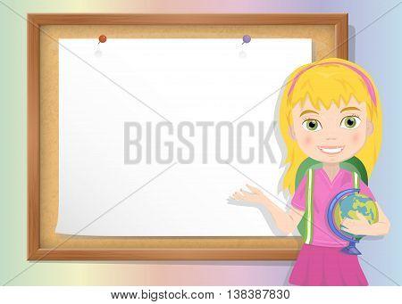 Schoolgirl and cork board with paper vector
