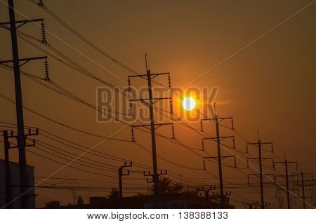 Electric Tower at dusk, with sunrise on a cloudless day. transpotation