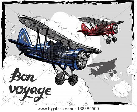 Lets travel concept vector illustration. Retro airplane poster. Old model plane is flying in the sky postcard. Bon Voyage.